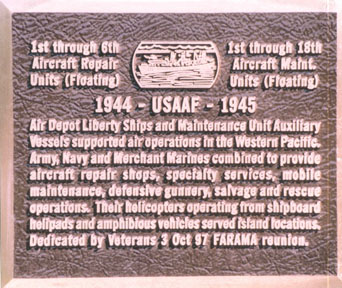 Memorial Plaque at Air Force Museum at Dayton, Ohio