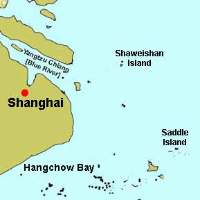 Saddle and Shaweishan islands in vicinity of Shanghai