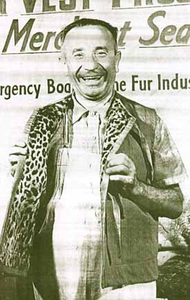 Fur worker modeling vest lined with jaguar