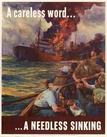 A Careless word. a needless sinking poster