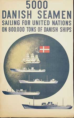 poster 5000 Danish seamen sailing for United Nations