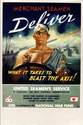 Merchant seamen deliver what it takes to blast the Axis!  poster