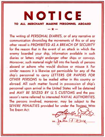 Notice to all Merchant Marine Personnel Aboard poster