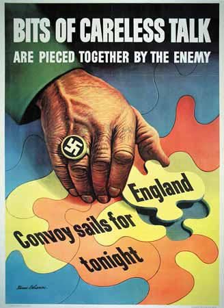 Bits of careless talk are pieced together by the enemy poster