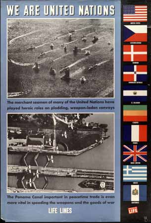 ships inconvoy  Panama Canal locks Flags Allied countries