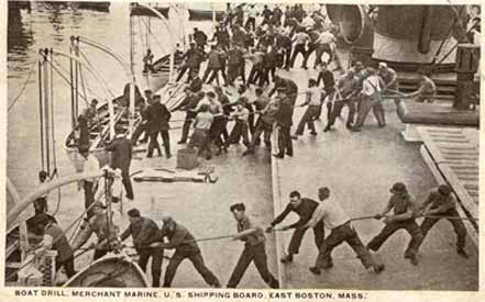 Merchant Marine Trainees During Boat Drill, East Boston, MA